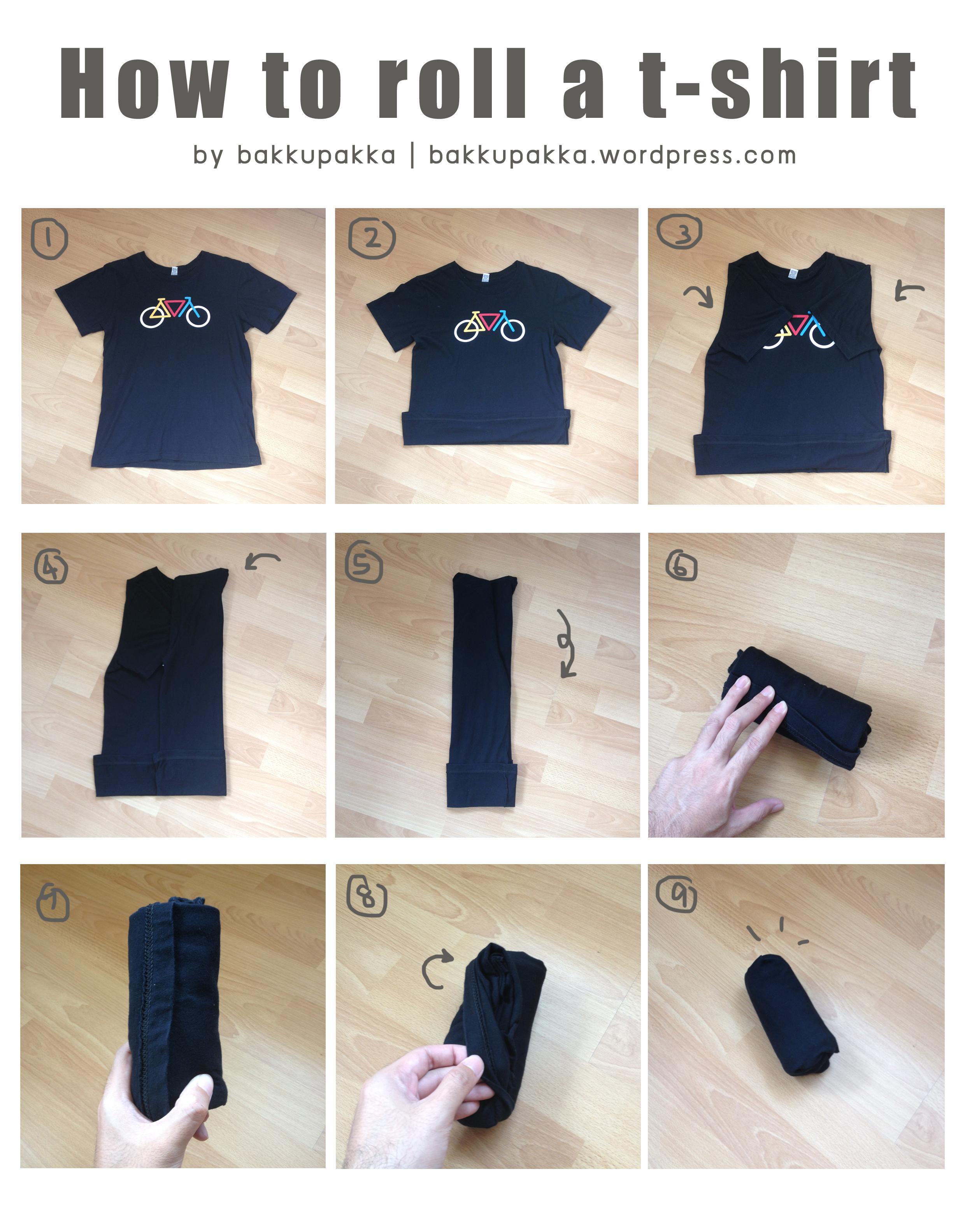 How To Roll A Shirt Bakkupakka